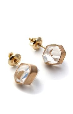 14 K Herkimer Diamond Crystal Studs