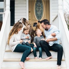 Family photos on the front porch! Photo by Penny Gray Photography - Family photos on the front porch! Photo by Penny Gray Photography Location/Lighting First Home Pictures, Family Photos With Baby, Photos With Dog, Fall Family Photos, Family Pictures, Adult Family Photos, Funny Family Photos, Couple With Baby, Baby Pictures