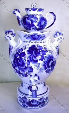 """Samovar """"Sunrise"""" Gzhel Porcelain Russian"""