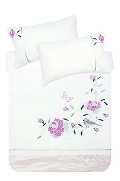 """Our feminine embroidered comforter set, made with 100% polyester has a hollow fibre inner. This comforter with a floral design is an effective way to add interest to any bedroom. Double, queen and king include 2 standard pillowcases.<div class=""""pdpDescContent""""><BR /><BR /><b class=""""pdpDesc"""">Fabric Content:</b><BR />100% Polyester<BR /><BR /><b class=""""pdpDesc"""">Wash Care:</b><BR>Lukewarm machine wash</div>"""