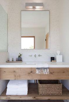 Modern wood vanity with quartz marble countertop in white bathroom Master Bathroom Plans, Modern Bathroom, Bathroom Green, Minimal Bathroom, White Bathrooms, Brown Bathroom, Natural Bathroom, Small Bathrooms, Simple Bathroom