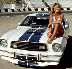 """my-retro-vintage: """"Farrah Fawcett on a Mustang Cobra II from the series """"Charlie's Angels"""" 1976 """""""