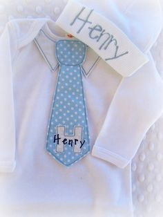 Personalized Coming Home Oufit, Home From Hospital Outfit,  Layette Gown and Hat Set, Boys Coming Home Outfit, boys tie outfit, Monogrammed on Etsy, $36.00