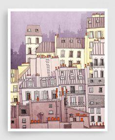 Paris, Montmartre (purple) - Paris illustration Drawing Art Prints Posters Home decor Wall decor Gift ideas for her Modern Living room decor