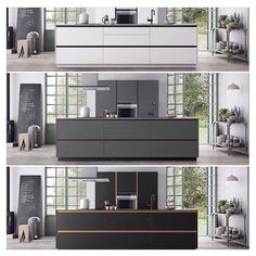 White, gray or black. Which kitchen is your favorite? Norwegian House, Huge Kitchen, Kitchen Ideas, Home Goods Decor, Home Decor, Black Kitchens, Danish Design, Decoration, Kitchen Design