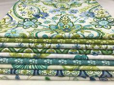 Aria ~ Fat Quarter or Half Yard BUNDLE ~ By Dover Hill for Benartex Fabrics ~ Blue & Aqua Watercolor Floral by TonyBugDesigns