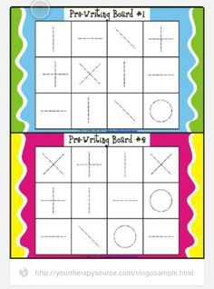 This activity is visual motor bingo. This requires children to identify what object is being called and trace the object using eye hand coordination. Helps with visual motor, visual perceptual and fine motor skills. Preschool Writing, Preschool Learning, Early Learning, In Kindergarten, Preschool Activities, Teaching, Visual Motor Activities, Therapy Activities, Pediatric Occupational Therapy