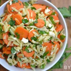 This carrot orzo salad is light, fresh, and lets the natural flavors of carrot, parsley, and lemon shine through, with just a touch of feta for fun.