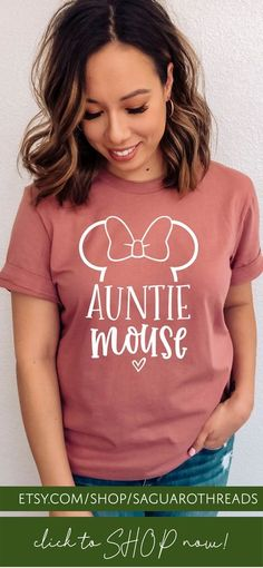 Cool Auntie Mouse Print Graphic T-Shirt with Ears & Bow Graphics! Auntie Mouse Shirt / Disney Aunt Tee / Disneyland Trip / Disneyworld Vacation / Women's Disney Shirt / Plus Size Disney Get this as a… More