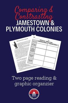 This United States History reading and graphic organizer helps students to compare and contrast the Jamestown and Plymouth colonies. This is a great supplemental lesson, perfect for a substitute teacher, or useful to assign as homework.  Click to get this resource - print and go! #ushistory #history #education #NotAnotherHistoryTeacher