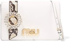 Miu Miu - My Miu Embellished Watersnake-trimmed Textured-leather Shoulder  Bag - White ee5cdf45ef