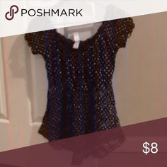 Too big Shear black with polka dots blouse Tops Blouses