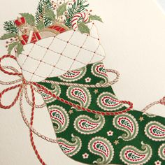 Engraved Stuffed Stocking Holiday Greeting Card: Charming and classic, an elegantly stenciled stocking is the star of this personalized holiday card. Accessorized with ropes of red and gold trim, it's as delectable as the gifts tucked inside.