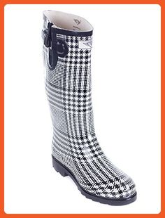 Women Rubber Rain Boots - Black/White Squares - Size 9 - Outdoor shoes for women (*Amazon Partner-Link)