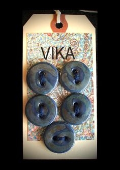 Ceramic Buttons 5 Blue, Olive, Forest, and Rust by vika on Etsy. All sew-through holes have been tool beveled and sponged smooth, backs are polished. Made for knitters, fiber artists, clothiers: designed to avoid cutting fiber or pilling fabric. Translucent porcelain. Approximately 1""