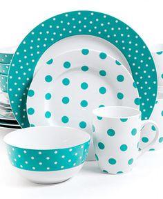 Isaac Mizrahi Polka Dot Teal 16-Piece Set - Casual Dinnerware - Dining & Entertaining - Macy's