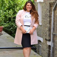 blush blazer, black pencil skirt, graphic tee