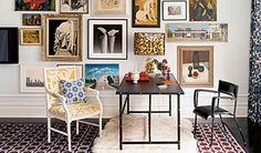Nice interiors by Jonathan Adler. I like how the different artworks in the background form one perfect collage.