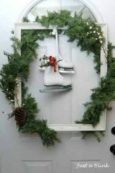 Nice alternative to a wreath. I am thinking a monogram or initial hanging in the middle.