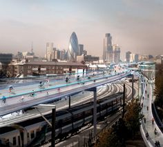 London could become much more bike-friendly with SkyCycle, an elevated route for bicycles only that runs along the existing rail network and would enable commuters to see the city in a new way