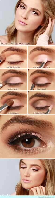 Too faced chocolate bar eye makeup tutorial - http://watchoutladies.net/18-brown-eyed-make-up-tutorials-to-try-now/