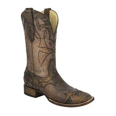 Corral Men's Distressed Brown Lizard Wide Square Toe Cowboy Boots - HeadWest Outfitters