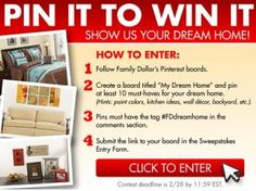 Family Dollar Pin It to Win It Giveaway on Pinterest!