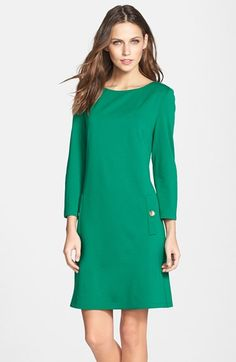 """Free shipping and returns on Eliza J Ponte A-Line Dress at Nordstrom.com. <p><B STYLE=""""COLOR:#990000"""">Pre-order this style today! Add to Shopping Bag to view approximate ship date. You'll be charged only when your item ships.</b></p><br>A gorgeous kelly green and detailed gold buttons at the pockets give some throwback flair to this soft-knit day dress."""