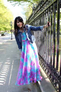 Maxi dress with blue jean jacket :D