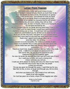 Letter From Heaven Keepsake Inspirational Blanket by GiftWorks. CLICK NOW to buy now for $55.00 plus shipping