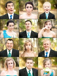 I like the idea of having a pic of each member of the wedding party making a funny face...but that might be wishful thinking.