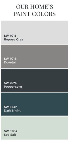 Paint Colors // Sherwin Williams Dovetail // Sherwin Williams Peppercorn // Sherwin Williams Dark Night // Sherwin Williams Sea Salt // Color Schemes // Home Color Ideas Repose Gray Tinta Sherwin Williams, Dovetail Sherwin Williams, Peppercorn Sherwin Williams, Sea Salt Sherwin Williams, Sherwin Williams Repose Gray, Sw Repose Gray, Sherwin Williams Gray Paint, Sherwin Williams Color Palette, Exterior Paint Colors