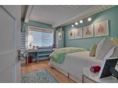 Pretty pale aqua blue walls in bedroom