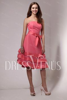 A-Line Tiered Knee-Length Bridesmaid Dress Wedding & Events