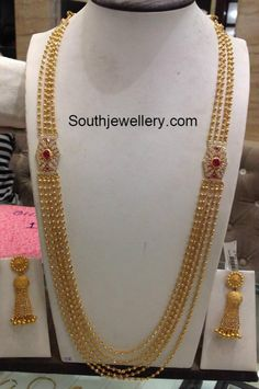 85 Grams Chandraharam with Side Pendants - Indian Jewellery Designs Gold Earrings Designs, Gold Jewellery Design, Necklace Designs, Bead Jewellery, Diamond Jewellery, Gold Jewelry Simple, Fashion Jewellery Online, Indian Jewelry, Pakistani Jewelry