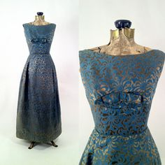 Vintage 1960s Blue & Gold Brocade Gown Dress  Wedding by SLVintage, $135.00
