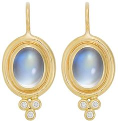 Temple St. Clair 18K Yellow Gold Classic Oval Earrings with Cabochon Royal Blue Moonstone and Diamond Granulation - $2,100.00