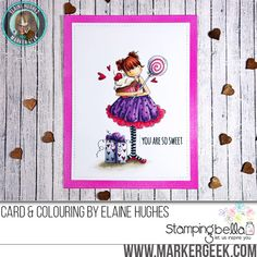 Stamping Bella Tiny Townie Sammy is Sweet rubber stamp Card. Click through for full details and a colouring video!
