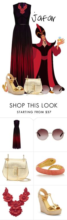 """""""Jafar - Summer - Disney's Aladdin"""" by rubytyra ❤ liked on Polyvore featuring Elie Saab, Chloé, Kenneth Jay Lane, Whitby and Gucci"""