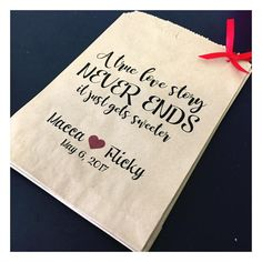 Personalised Wedding Engagement Lolly Bags Rustic Vintage Dessert Lolly Table Gift Idea Favours A True Love Story Never Ends