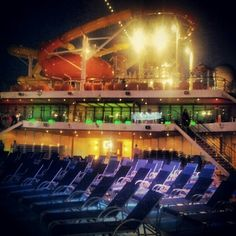 #TBT Carnival Breeze at night. Running from security and sneaking into the spa.  (Taken with Instagram)