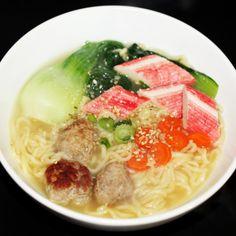 Ramen bok choy, pork meat balls, kimchi seasoned carrots and (fake) crab.