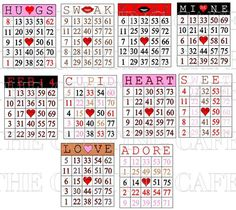 valentines day bingo cards - good number identification practice!