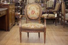 Antique French Needlework with Petit Point Arm Chair by TheParsonsPleasures on Etsy