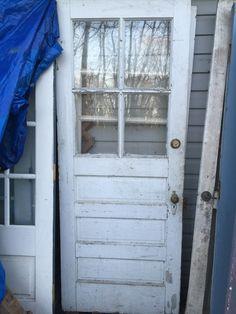 Superb $85 32x79.5 6 Window Pane Vintage Door With Original Hardware
