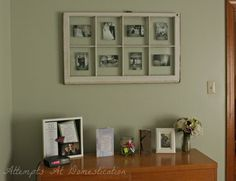 Old window used as picture collage frame.