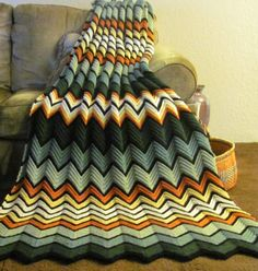 Chevron crochet throw
