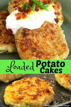 These Loaded Potato Cakes are an unforgettable side dish. Serve them alongside girlled steaks, pork chops, kabobs or chicken any day of the week. Potato Dishes, Potato Recipes, Food Dishes, Mashed Potato Cakes, Fried Potato Cakes, Potatoe Cakes Recipe, Leftover Mashed Potatoes, Potato Pancakes, Side Dish Recipes