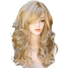QQXCAIW Long Wavy Natrual Blonde 60 Cm Synthetic Hair Wigs