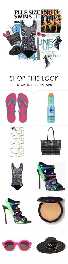 """""""Stylish Curves: Swimwear Edition"""" by shortyluv718 ❤ liked on Polyvore featuring Havaianas, Beats by Dr. Dre, Kiss My Face, Casetify, Loeffler Randall, Dsquared2, Laura Mercier, Preen, Volcom and stylishcurves"""